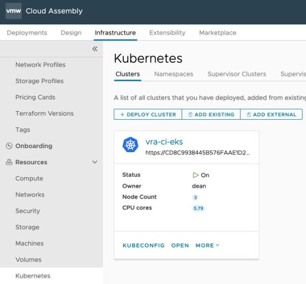 vRA EKS - Cloud Assembly - Kubernetes Endpoint