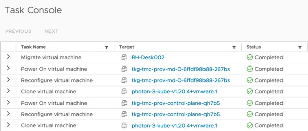 Tanzu Mission Control - Clusters - Create Cluster - vCenter Tasks
