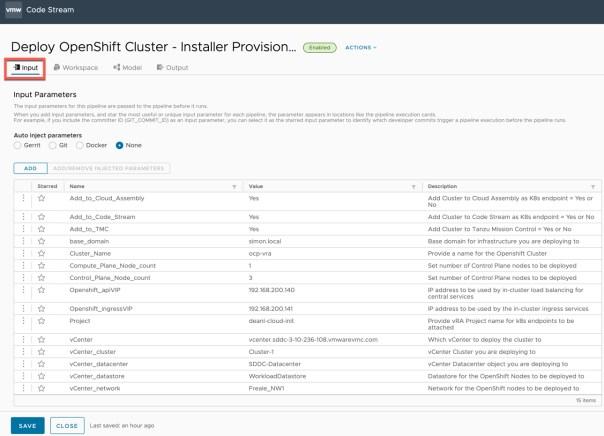 vRA Deploy Openshift - Code Stream - Inputs