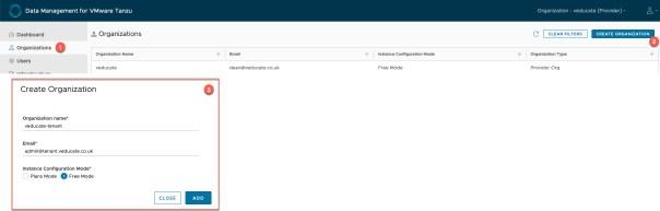 Data Management for Tanzu - Create Organisation