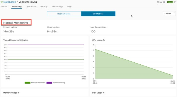 Data Management for Tanzu - Org User - Database Monitoring - DB Metrics