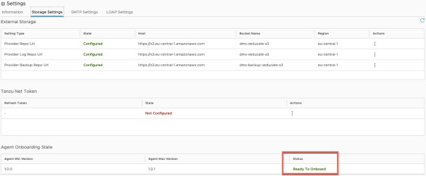 Data Management for Tanzu - Storage Settings - Agent Onboarding State - Ready to Onboard