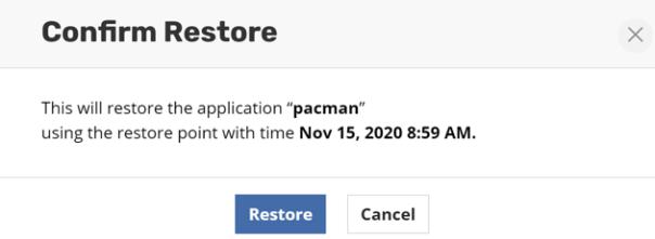 Kasten - Applications - Restore confirm