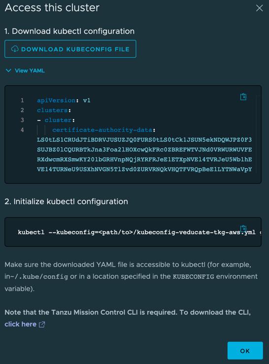 TMC - Access your cluster - download kubeconfig