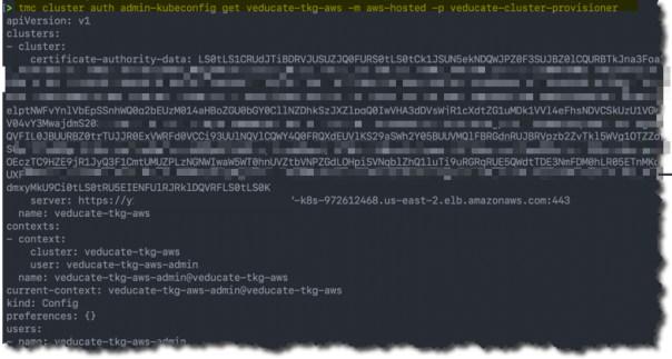 TMC - Access your cluster - tmc auth admin-kubeconfig get