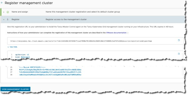 Tanzu Mission Control - Register Management Cluster - Register