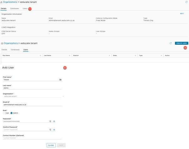 Data Management for Tanzu - Create Organisation - Create Admin User