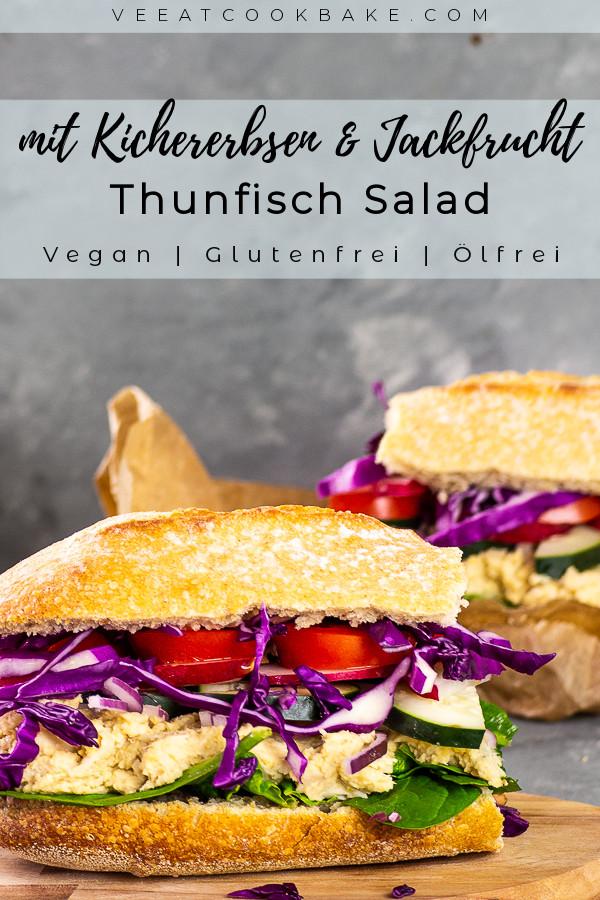Dieser vegane Thunfischsalat aus Jackfrucht und Kicherbsen ist nicht nur cremig, sondern auch faserig wie die nicht vegane Version. Esse ihn so wie in den Fotos als Sandwich oder toppe damit deinen nächsten Salat. Mit Hilfe von 2 Zutaten erhält der vegane Thunfisch Salat seinen Meergeschmack. vegan | vegetarisch | ölfrei | milchfrei | lactosefrei | glutenfrei