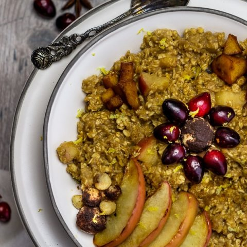Vegan baked apple cinnamon oatmeal with marzipan