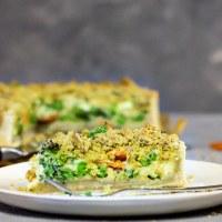 Vegan Garden Veggie Quiche with Cheezy Crumbs