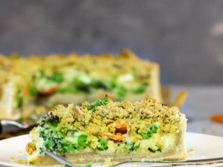 Vegan Garden Veggie Quiche with Cheezy Crumbs