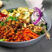 American, Vegan Cobb Salad with Oil-Free Tahini - Red Wine Vinegar - Dressing
