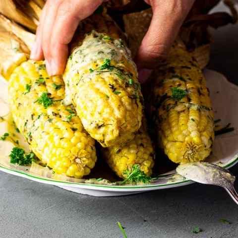 Vegan Corn on the Cob with Parsley- Chive-Tahini
