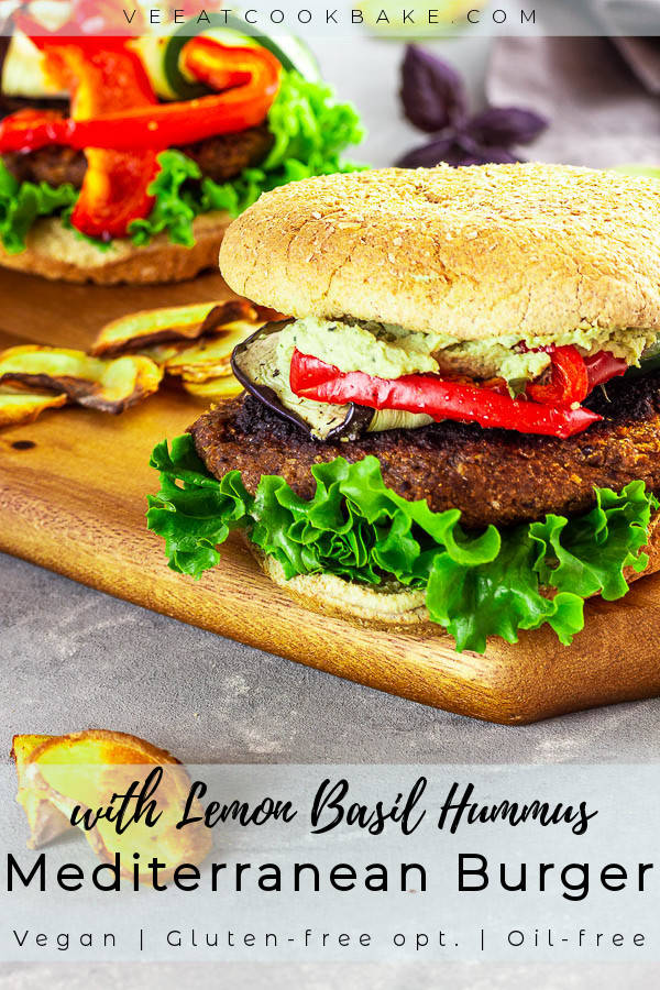 A delicious recipe for a healthy vegan Black Bean Burger made with no nuts and oil with an opt. gluten-free patty with black beans and oats served with roasted Mediterranean oven-baked vegetables and homemade easy lemon-basil hummus without oil with tahini, fresh basil and chickpeas. Vegan | vegetarian | sugar free | Whole foods plant-based | gluten-free opt.