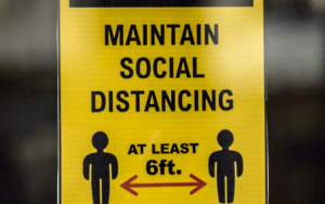 social distancing sign used during covid