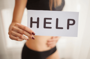 woman looking for help with her inflamed vulva