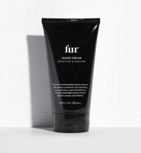 Fur shaving cream in a black bottle