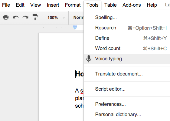 "Voice typing option in a Google Doc"" srcset=""https://blog.hubspot.com/hs-fs/hubfs/voice-typing.png?t=1526202848593&width=281&height=200&name=voice-typing.png 281w, https://blog.hubspot.com/hs-fs/hubfs/voice-typing.png?t=1526202848593&width=562&height=399&name=voice-typing.png 562w, https://blog.hubspot.com/hs-fs/hubfs/voice-typing.png?t=1526202848593&width=843&height=599&name=voice-typing.png 843w, https://blog.hubspot.com/hs-fs/hubfs/voice-typing.png?t=1526202848593&width=1124&height=798&name=voice-typing.png 1124w, https://blog.hubspot.com/hs-fs/hubfs/voice-typing.png?t=1526202848593&width=1405&height=998&name=voice-typing.png 1405w, https://blog.hubspot.com/hs-fs/hubfs/voice-typing.png?t=1526202848593&width=1686&height=1197&name=voice-typing.png 1686w"" sizes=""(max-width: 562px) 100vw, 562px[1 9659052]Want to voice type in Google Docs on your phone? Voice typing only works for computers, but many iOS and Android mobile devices have built-in microphones you can use with a document.</p> <h3 style="