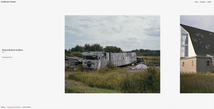 Página de inicio de Guillaume Tomasi, un sitio web genial con gran uso de la fotografía