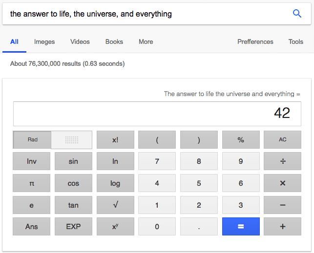 """Resultado de búsqueda de Google para """"la respuesta a la vida, el universo y todo"""", haciendo referencia Guía del autoestopista galáctico """"width ="""" 643 """"style ="""" width: 643px"""
