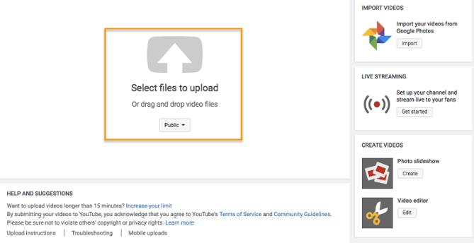 El aviso de la página del creador de YouTube para seleccionar archivos para cargar
