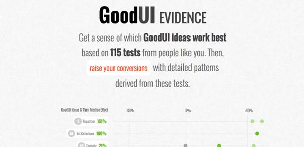 Pilar en la página sobre la evidencia de conversión de plomo por GoodUI