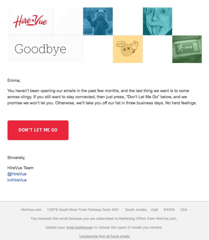 Campaña de marketing por correo electrónico sobre la retención de clientes por HireVue