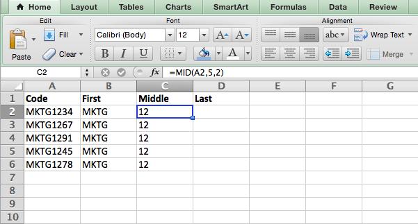 Fórmula MID en Excel