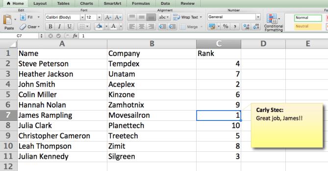 Agregue un comentario a una celda en Excel