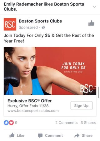 Anuncio de oferta en Facebook de Boston Sports Clubs
