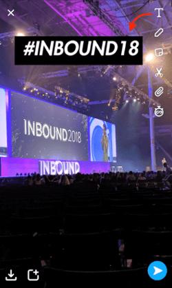 Título de texto de Snapchat que dice # INBOUND18