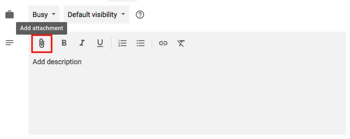 """Característica para agregar archivos adjuntos a eventos en Google Calendar con el icono del clip resaltado en rojo """"width ="""" 699 """" style = """"width: 699px"""