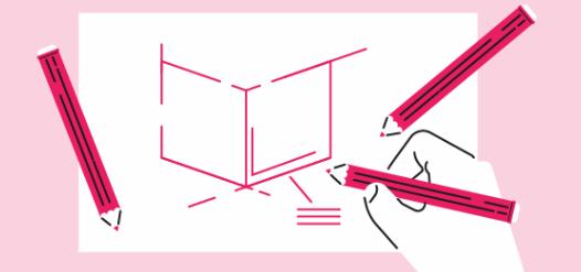Dibujo rosa en una hoja de papel para dibujo en grupo