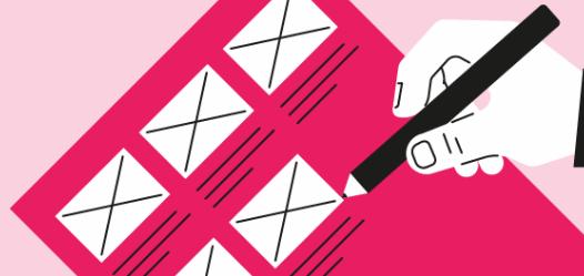 Cinco paneles en un gráfico rosa de guión gráfico para la lluvia de ideas