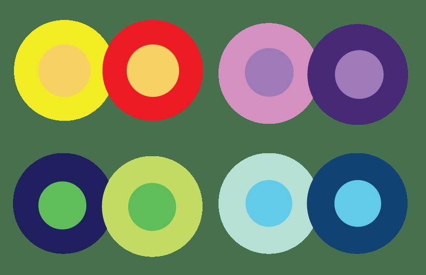 Cuatro pares de círculos de colores que muestran un contexto de color diferente