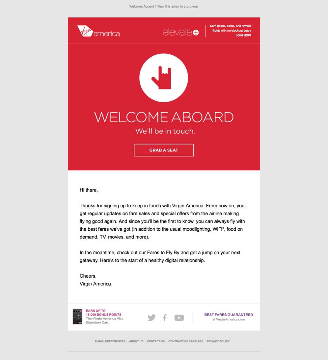 Correo electrónico de bienvenida de Virgin America con un CTA rojo para comenzar