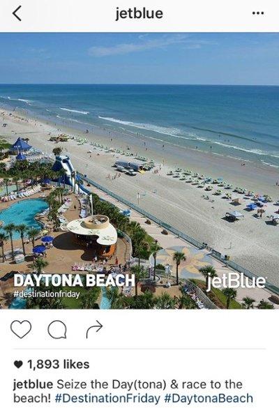 Título de Instagram con tono alegre y juegos de palabras por JetBlue