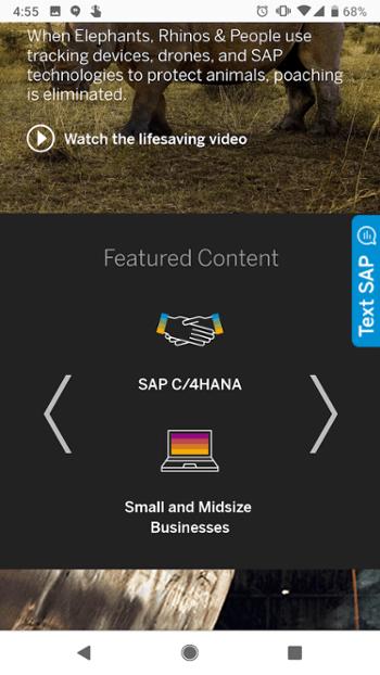 Sitio web móvil de SAP con controles deslizantes de llamada a la acción