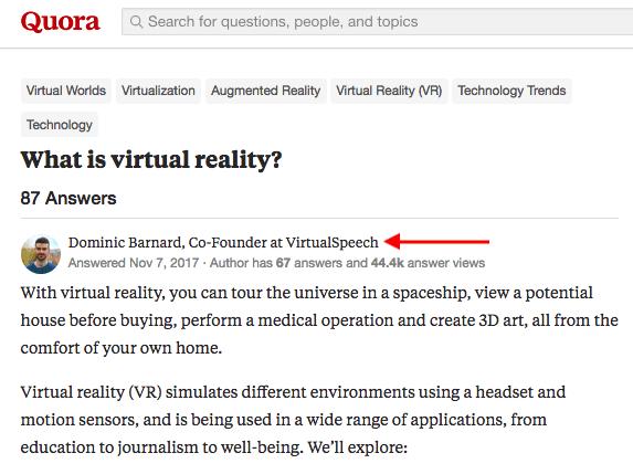 Pregunta sobre Quora preguntando qué es la realidad virtual, respondida por un hombre con título profesional