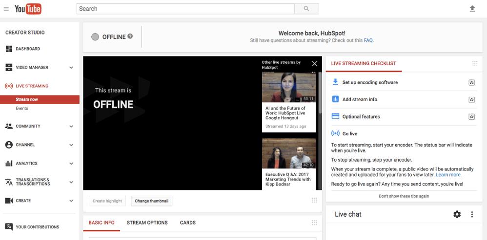 """youtube_livestream dashboard.png """"width ="""" 998 """"title ="""" youtube_livestream dashboard.png """"> </p> <p> Nuevamente, notará que no hay un botón de"""" inicio """"en el tablero de instrumentos. Aquí es donde deberá abrir su codificador y comenzar y detener su transmisión desde allí. <a href="""