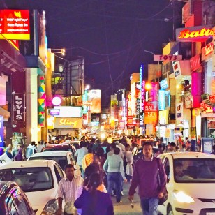 commercial street on a saturday evening. bangalore, india. august 2015.