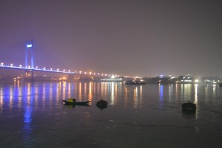 a boat on the hooghly. calcutta, india. december 2015.