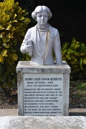 a newly designed gravestone for henry louis vivian derozio. calcutta, india. december 2015.