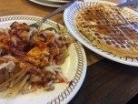 hashbrowns and a pecan waffle and waffle house. memphis, tennessee. january 2016.