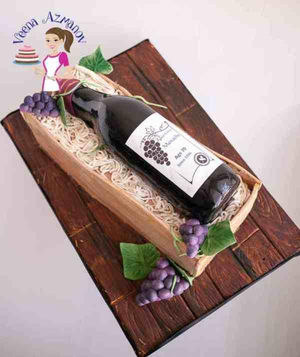 Wine Bottle And Crate Cake Tutorial Video - Veena Azmanov