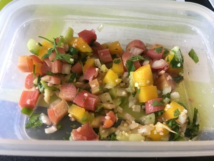 My rhubarb salsa. It's pretty good for a savory rhubarb recipe and perfect for summer!