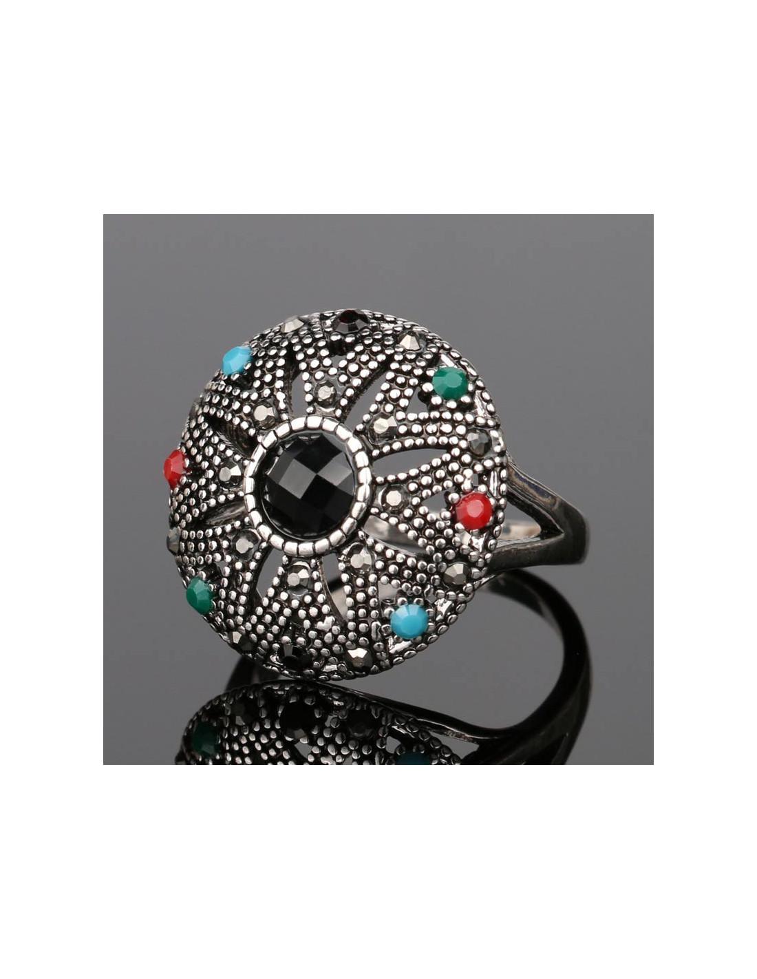 Inel Argintiu Vintage Model Rotund Cu Cristale Colorate Si