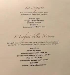 i menu degustazione del ristorante Joia