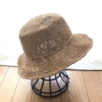 マイ夏帽子完成♪色はサンドベージュで、シンプルな感じ。