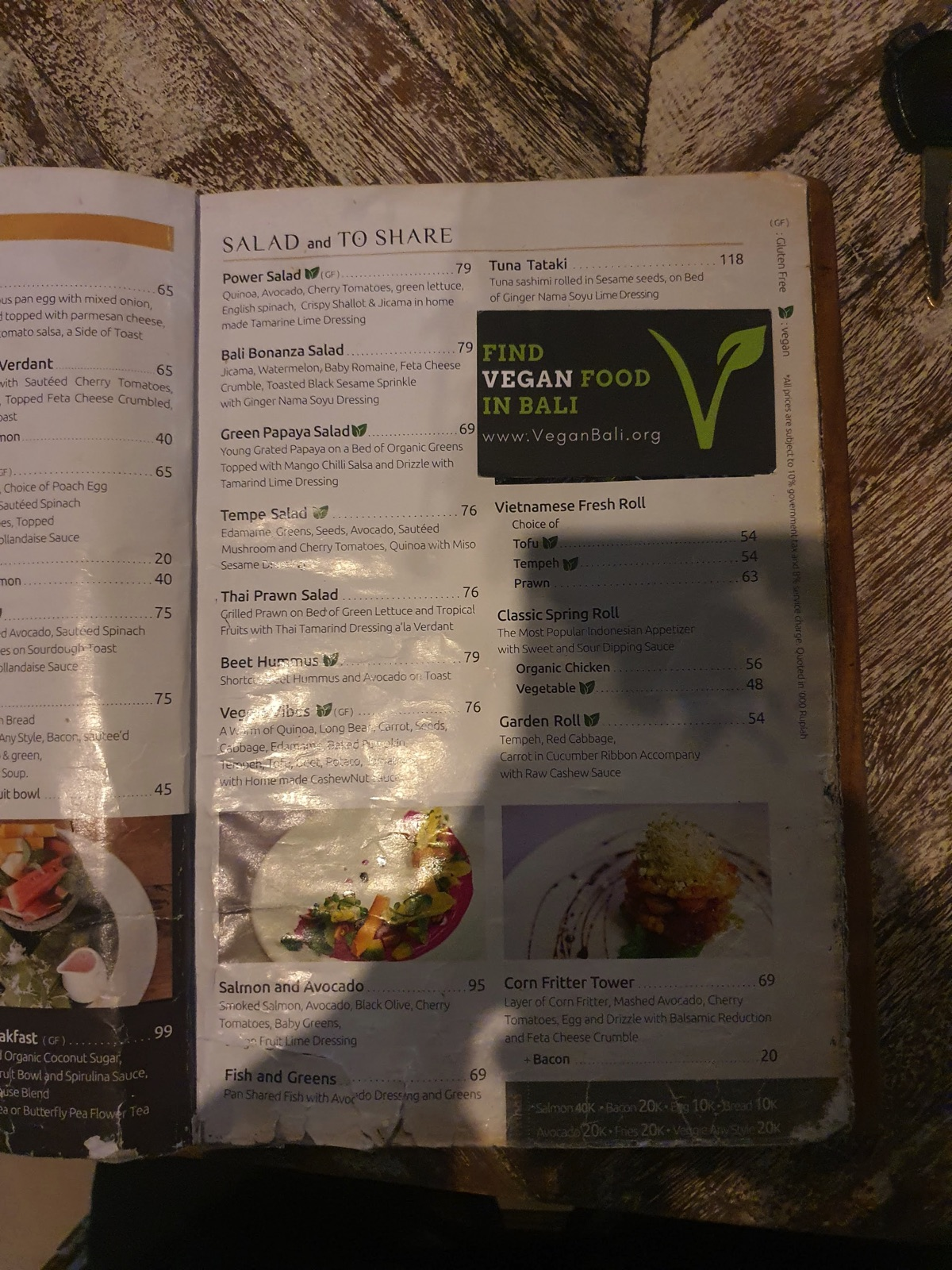nusa dua vegan restaurant menu